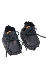 Jamin Leather Handcrafted Black Leather Baby Booties #BB1072K