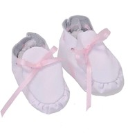 Jamin Leather Handcrafted White Leather Baby Booties #BB1073W