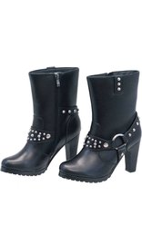 Ride Tec High Heel Studded Leather Harness Boots #BL8546HSK