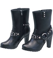 High Heel Studded Leather Harness Boots #BL8546HSK