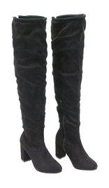 Women's Black Micro-Suede Thigh High Boots w/Block Heel #BLC04THSK