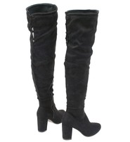 Women's Black Micro-Suede Thigh High Boots w/Block Heel #BLC04THSK