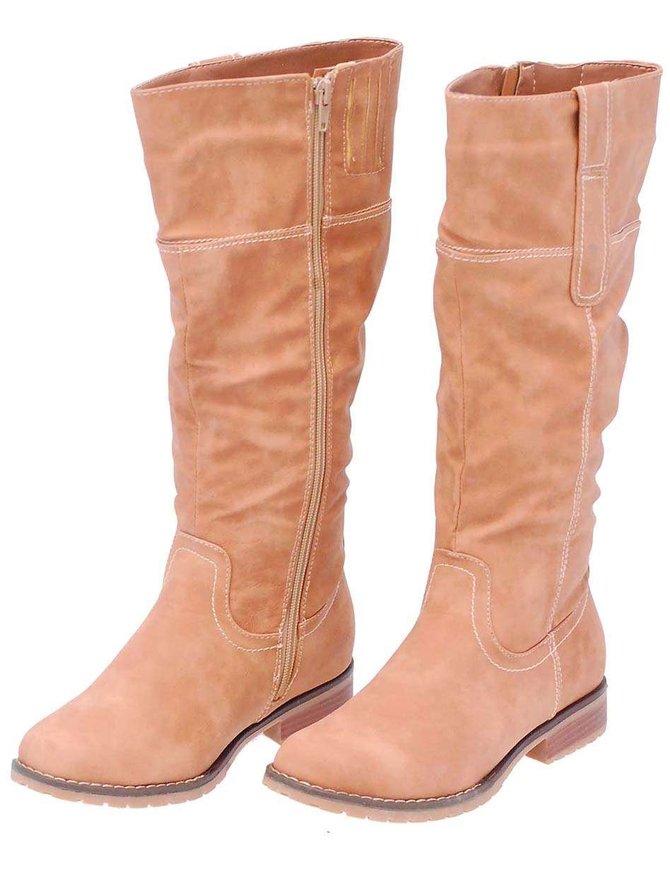Taupe Knee High Western Boots #BLC1DALT