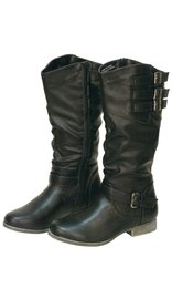 Women's Black Triple Side Buckle Riding Boots w/Zipper #BLC32102K