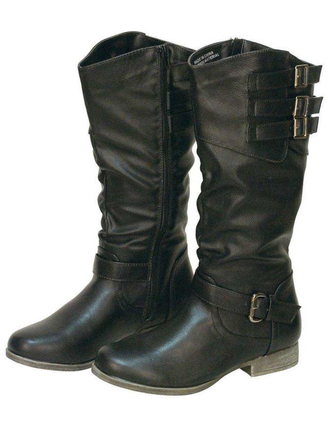Women's Black Triple Side Buckle Riding Boots w/Zipper #BLC32102K