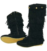 Black 4 Row Fringed Moccasin Boots #BLC32282FK