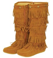 Tan 4 Row Fringed Moccasin Boots #BLC32282FT
