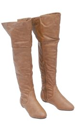 Women's Taupe Convertible Thigh High Boots w/Flat Heel #BLC32803T