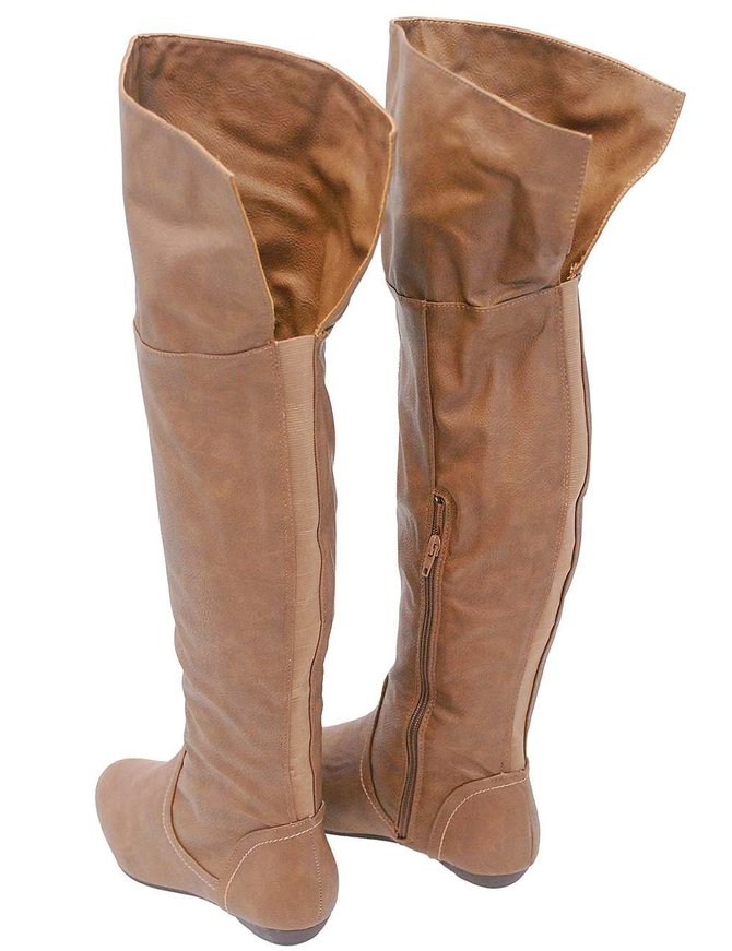 Women's Taupe Convertible Thigh High Boots w/Flat Heel #BLC32803T