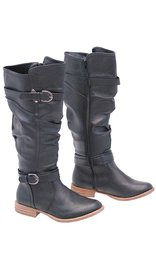 Black Two Tone Knee High Boots w/Ankle & Knee Strap #BLC37620K