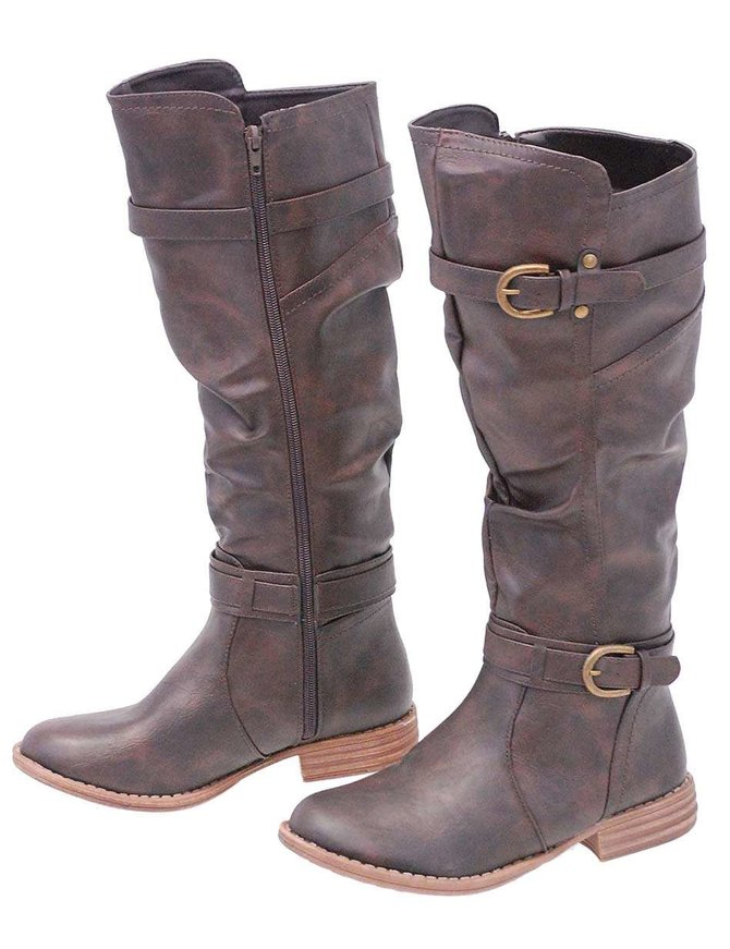 Brown Two Tone Knee High Boots w/Ankle & Knee Strap #BLC37621N