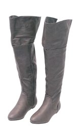 Women's Dark Gray Convertible Thigh High Boots w/Flat Heel #BLC39804GY
