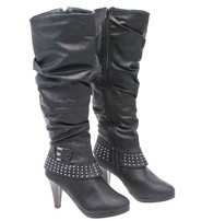 Knee High Women's Zip Boots w/Studded Ankle Band #BLC3SANK
