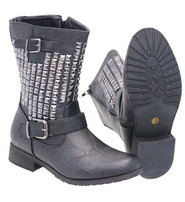Women's Pyramid Studded Shaft Boots w/Ankle Strap #BLC52565SK