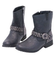Studded Ankle Boots w/Studded Strap & Zipper #BLC526SK