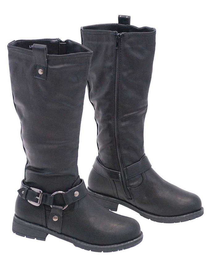 Black Biker Zip Harness Boots for Women #BLC7LIONK