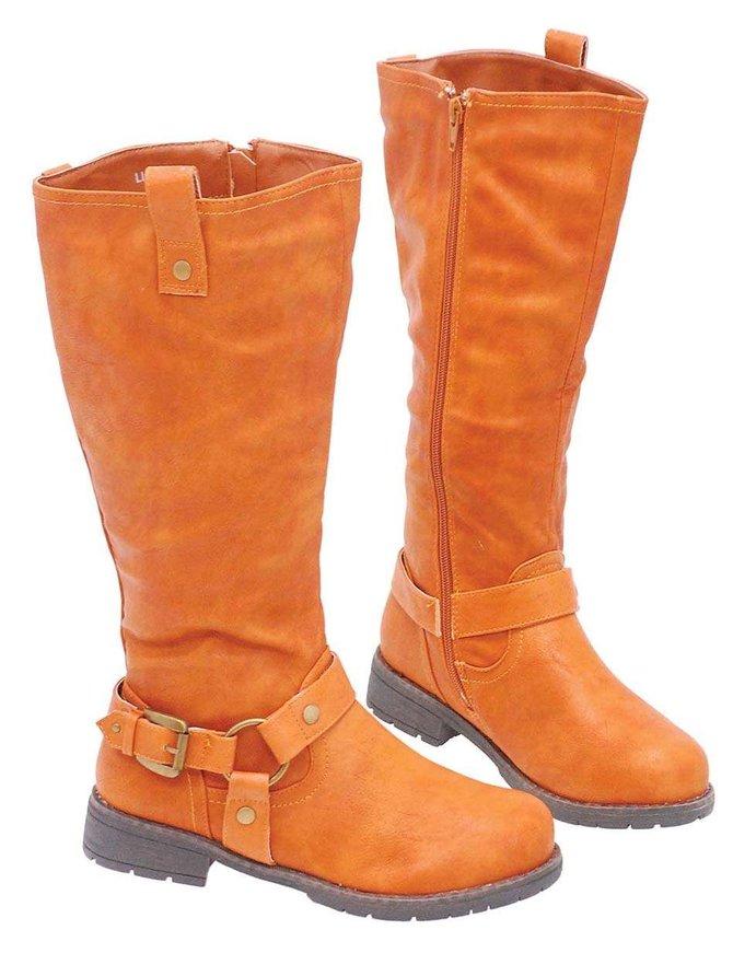 Brown Biker Zip Harness Boots for Women #BLC7LIONN