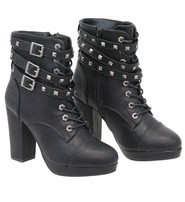 Milwaukee Triple Studded Strap High Heel Riding Boots #BLC9417SLK
