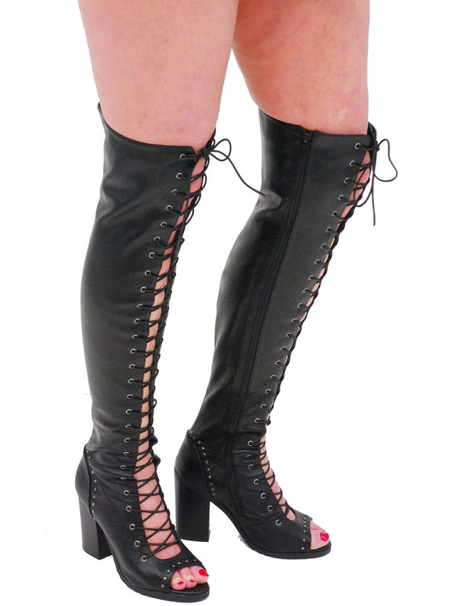 Milwaukee Milwaukee Lace Up Thigh High Open Toe Studded Boots #BLC9421THI