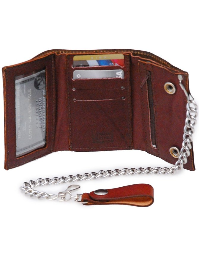 USA Brand Vintage Brown Trifold Chain Wallet with Zipper Pocket Inside #WCA32246N