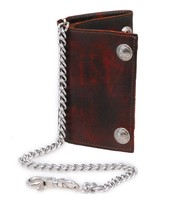 Made in USA Vintage Brown Over-sized Trifold Chain Wallet with Buffalo Nickle Snaps #WCA449BUFN
