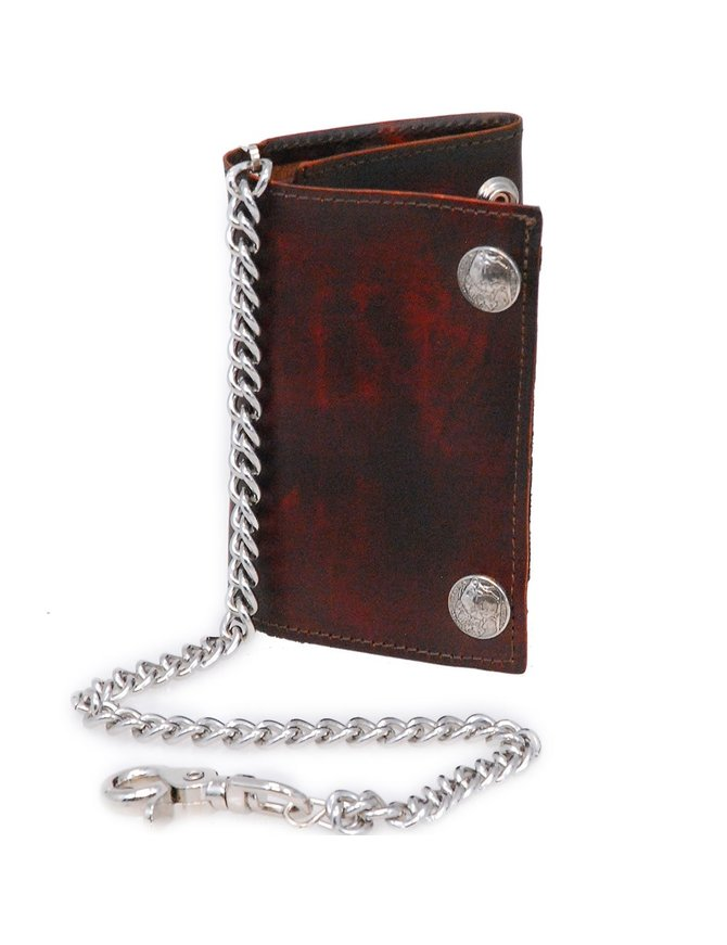 USA Brand Vintage Brown Over-sized Trifold Chain Wallet with Buffalo Nickle Snaps #WCA449BUFN