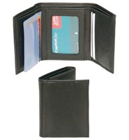 Black Leather Trifold Wallet - Special #WM29K