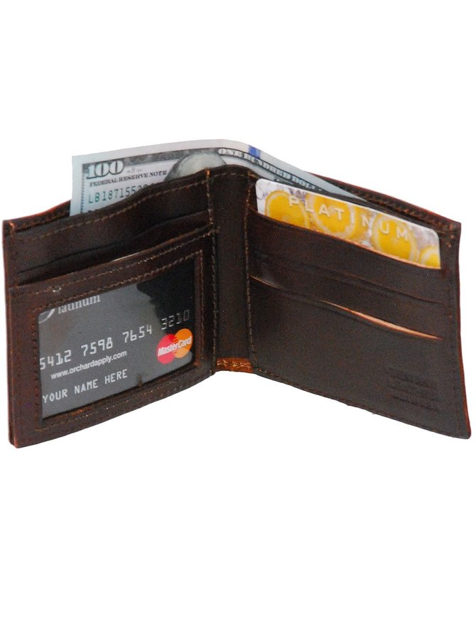 USA Brand Vintage Brown Bifold Wallet with Buffalo Nickle Emblem #WMA330BUF