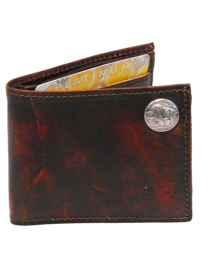 Made in USA Vintage Brown Bifold Wallet with Buffalo Nickle Emblem #WMA330BUF