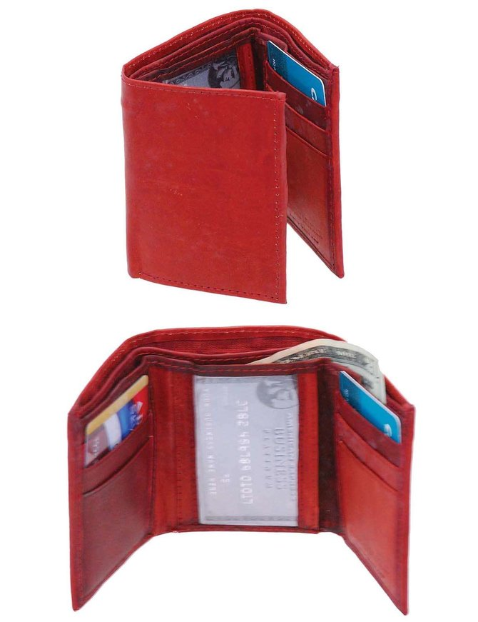 Rust Brown Color Leather Tri-Fold Wallet w/Hidden Bill Compartment #WMT122ZR
