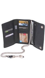 USA Brand Black Extra Long 16 Compartment Tri-fold Chain Wallet #WC3390K