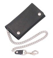 Made in USA Black Extra Long 16 Compartment Tri-fold Chain Wallet #WC3390K
