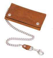 USA Brand Vintage Brown Extra Long 16 Compartment Tri-fold Chain Wallet #WC3391N
