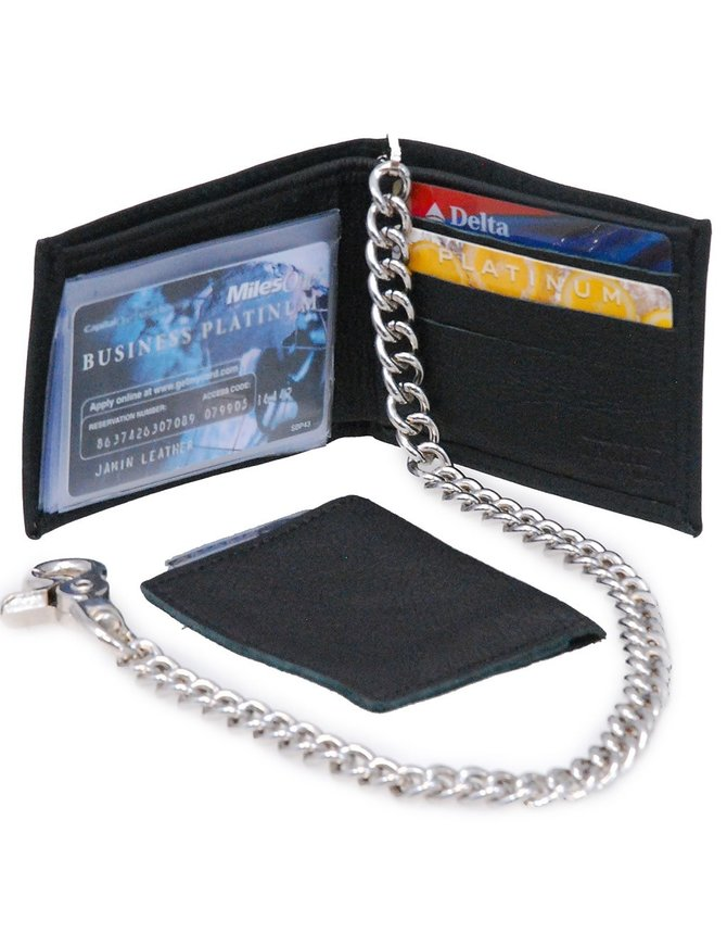 Made in USA Classic Bi-Fold Leather Chain Wallet w/Removable ID Case #WC344K