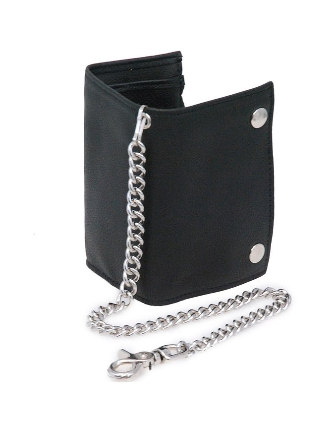 Made in USA Soft Leather Oversized Trifold Chain Wallet #WC817K