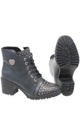 Milwaukee Milwaukee Women's Dark Gray Studded Lace Up Boots #BLC9426SLG