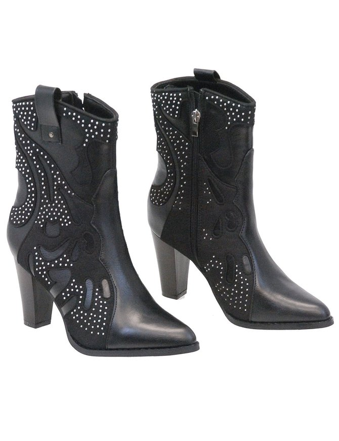 Milwaukee Milwaukee High Heel Boots with Fancy Studded Overlay #BLC9429SZK