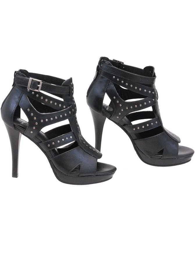 Milwaukee Milwaukee Rivet Trim Strapped Spiked Sandals #BLC9452SSK