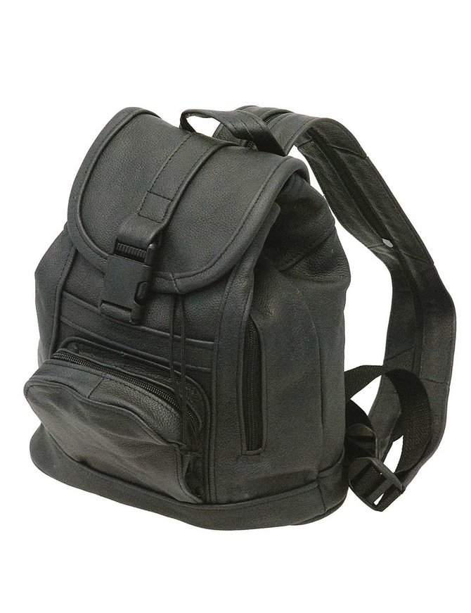 Small Black Leather Backpack Purse #BPS557K