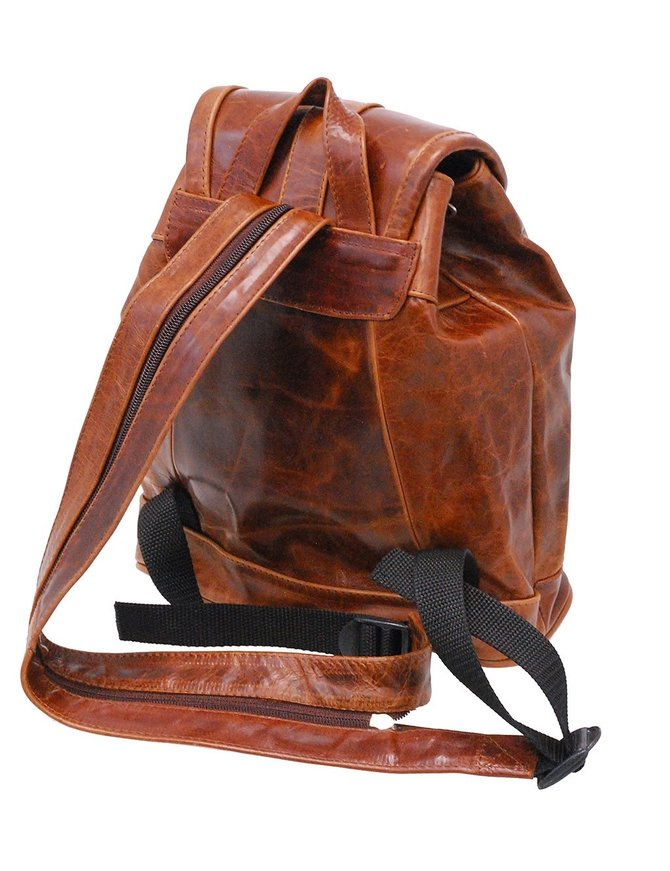 Small Vintage Brown Leather Backpack Purse #BPS5581N