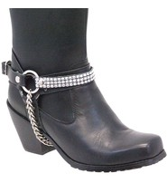 Jamin Leather Triple Row Crystal Boot Straps #BS1612CRYS