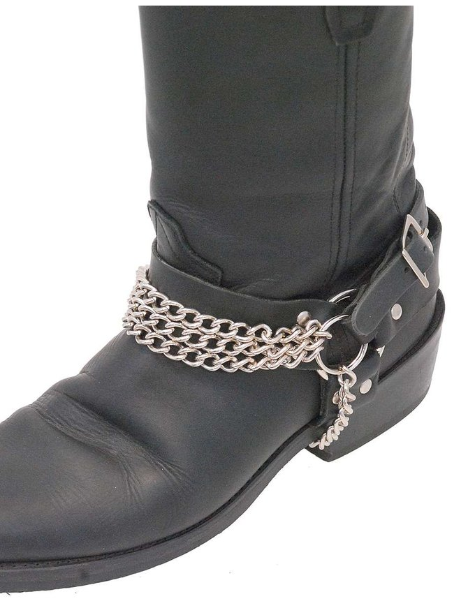 Jamin Leather Triple Chain Boot Straps #BS31