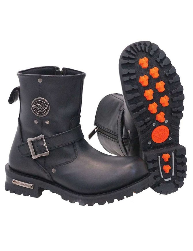 Motorcycle Men engineer style Classic Buckle Zipper Geniune Leather Boots