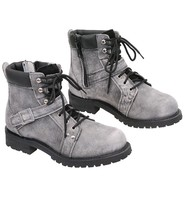 Vintage Gray Men's Ride Tecs Lace Up Riding Boots w/Buckle Strap #BM91431LGY