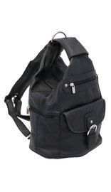 Black Cowhide Expandable Shoulder Bag Backpack #BP3610K