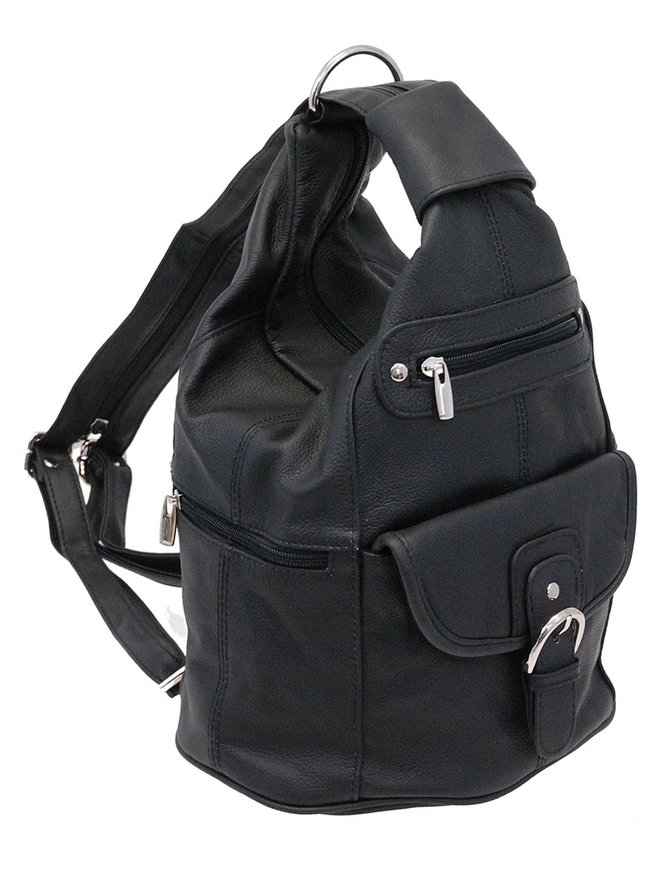Black Cowhide Expandable Shoulder Bag Backpack #BP3610K