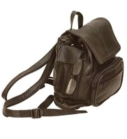 Black Leather Backpack Purse w/Cell Pocket #BP538CK