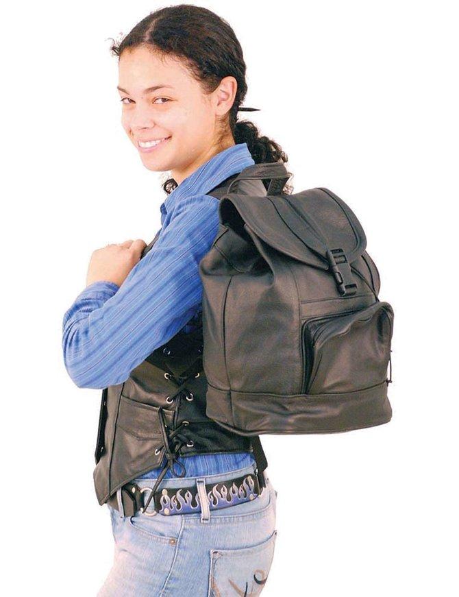 Medium Black Leather Backpack Handbag #BP556