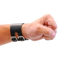 Jamin Leather Black Leather Double Buckle Wide Wristband #WB10082K