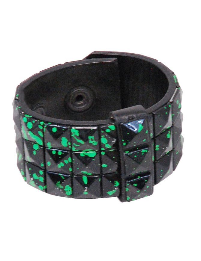 Black and Green Triple Row Pyramid Studded Leather Wristband #WB136GN